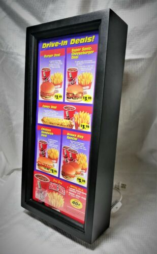 Vintage SONIC DRIVE-IN MENU Sign. Framed in a new custom built light box.