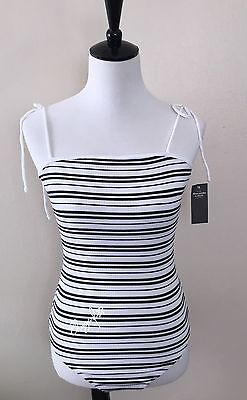 NWT Abercrombie & Fitch Women's TIE-SHOULDER BODYSUIT, White Stripe, Small