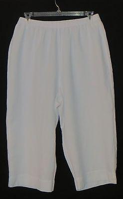 Hot Cotton Woman Size Linen Blend Capri Pants White 2X New