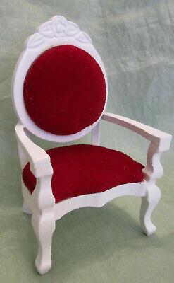 Stuhl, weiß + weinroter Samt, Maßstab 1:12, Miniatur-Puppenstube/Puppenhaus #02#