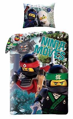 LEGO NINJAGO Movie Ninja Moves Kids Single Bed Duvet Cover Set 100% COTTON brick