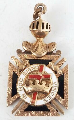 Vintage 14K Gold Masonic Knights Templar pocket watch Fob Pendant original