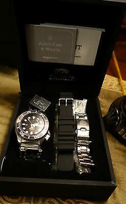 Orient Black Diver Automatic Watch  Cfd0c001b   With Box  Papers  Extra Bracelet