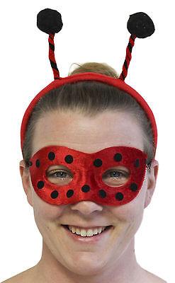 Ladies Halloween Costume Accessory - Ladybug Mask and Bopper Headband Set