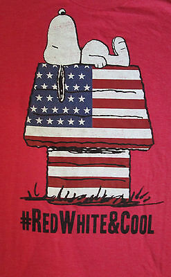 """Snoopy On Doghouse Red Tshirt---""""Red White & Cool""""--Size Large  OR  2XL Only-NWT"""