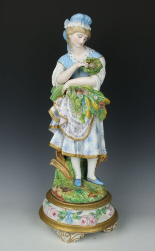 """Antique 19C French porcelain figurine """"Girl with Flowers and Eggs"""" WorldWide"""