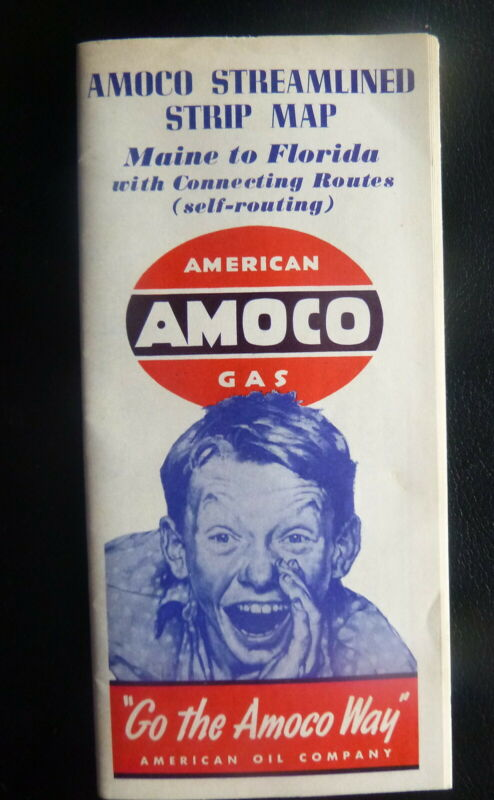 1940 Maine to Florida strip  road maps booklet  Amoco oil   gas