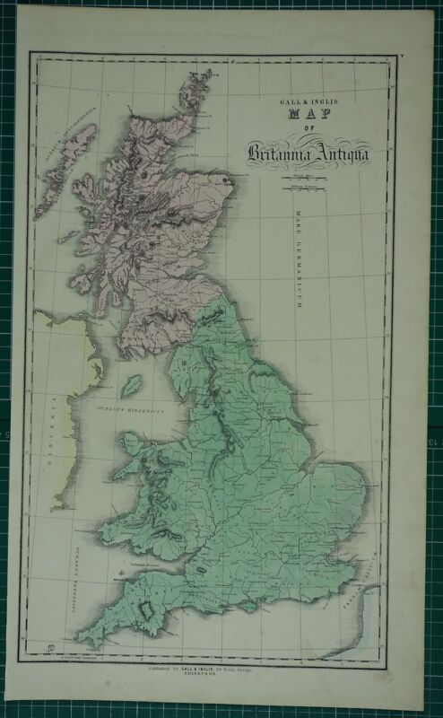 1850 LARGE ANCIENT MAP HAND COLOURED ~ BRITANNIA DEMETA SIMEN VALENTIA NOVANTAE