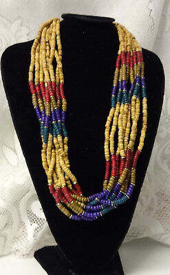 African Haute Couture Runway Fashion Mixed Hard Wood Chunky Super Necklace WOW
