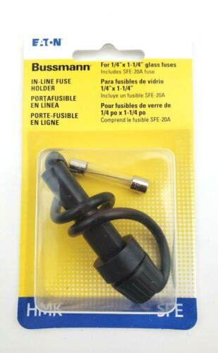 """Bussmann HMK-RP In-line Fuse Holder For 1/4"""" x 1-1/4"""" Glass Fuses With 1 SFE20"""