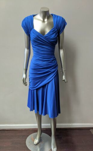 ROYAL BLUE RETRO RUCHED DRAPED CUT OUT BACK DROP WAIST FITTED DRESS sz M