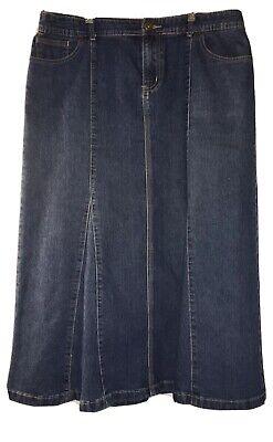Christopher & Banks Size 12 Long Modest Full Length Denim Jean Skirt Full Long Skirt