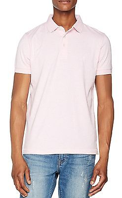 French Connection Mens Cotton Polo Shirt Top T Shirt New Sure Pink Melange