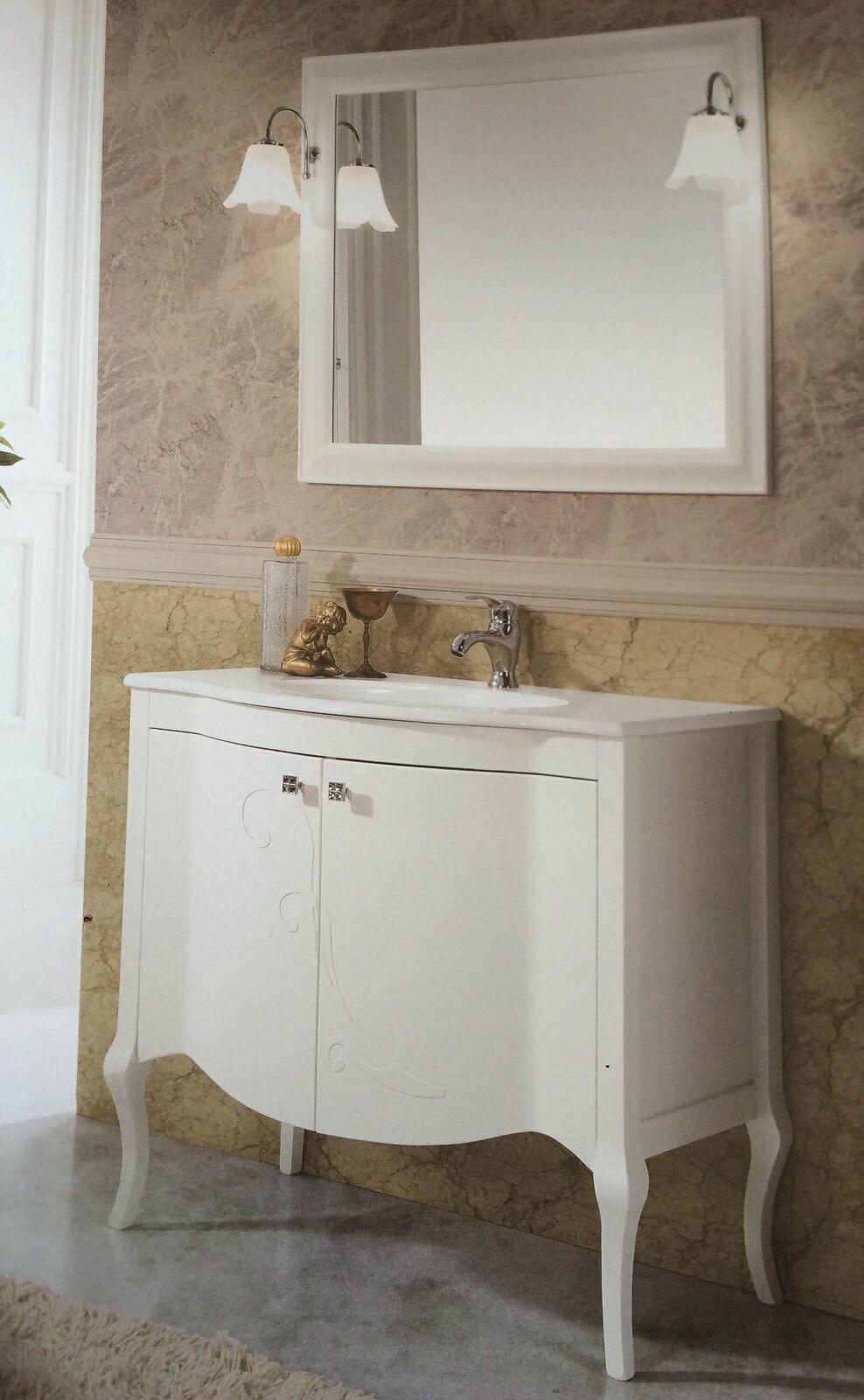 Mobile bagno con lavabo e specchio legno bianco bombato - Specchio bagno legno ...