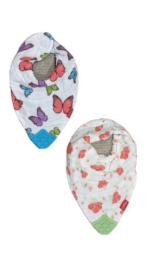Nuby Baby Bibs Bandana Style Set Of 2 Flower / Butterfly Pattern With Teether - $5.99