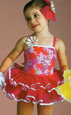 Ruffled Dance Costume Foil Floral Ribbon Trimmed Child Extra Small 2-4 Girls