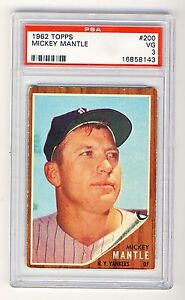 Mickey Mantle 1962 Topps Baseball Card #200 PSA 3 (VG) *16858143