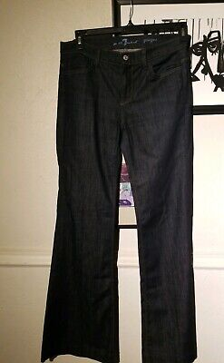 7 for all Mankind Ginger Dark Wash Stretch Denim Flare Jeans Womens Sz 30 7 For All Mankind Ginger
