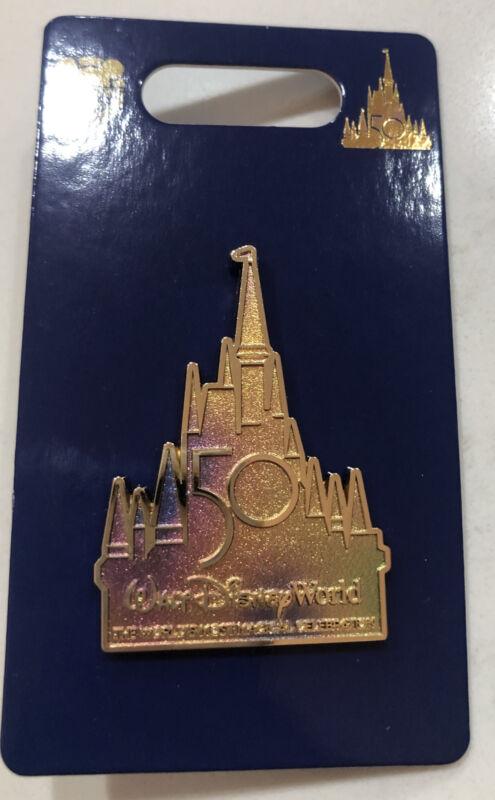 Walt Disney World WDW Pin 50th Anniversary Cinderella Castle WDW 50 Iridescent