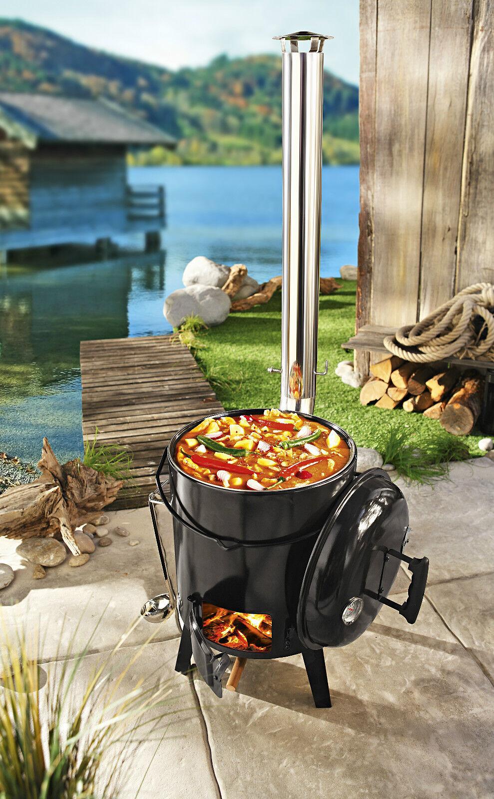 eintopfofen outdoor extra 4in1 grillen kochen r sten braten gl hweinofen eur 104 99. Black Bedroom Furniture Sets. Home Design Ideas