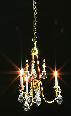 Dollhouse Miniatures 1:12 Scale Gold Crystal Chandelier Item #MH45150