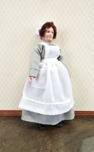 Dollhouse Miniature Maid Cook Housekeeper Doll Porcelain Poseable 1:12 Scale