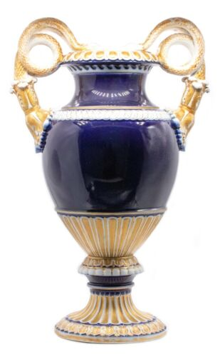 GERMANY 1900, MEISSEN BLUE AND GILDED PORCELAIN URN WITH SNAKE HANDLES OERFECT