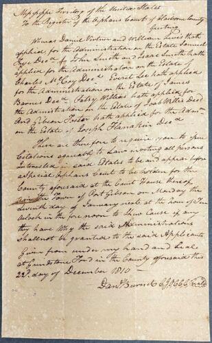 1810 Mississippi Territorial Court Document – Danial Burnet Signature