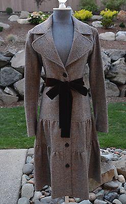 Burberry laine défilé manteau différencié ruche jupe à chevrons plaid - uk 10 /