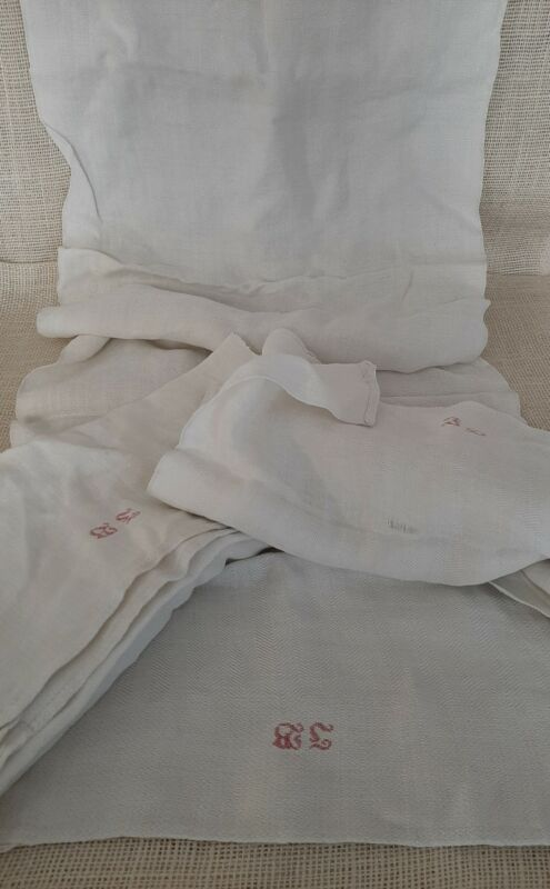3 Antique Homespun Linen Towels