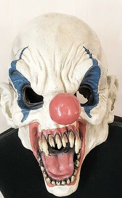 Vintage Clown Mask (VINTAGE Rubies Scary Clown Rubber/Latex Mask Halloween Costume Rare Fangs)