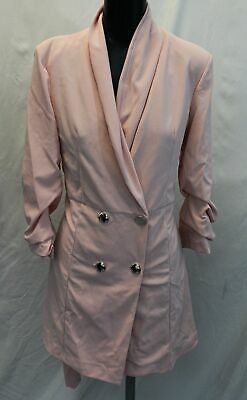 Boohoo Women's Plus Double Breast Blazer Dress LP7 Blush Size US:16 UK:20 NWT