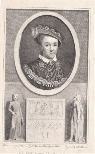 EDWARD VI King of Great Britain original 1788 engraving by Charles Sherwin