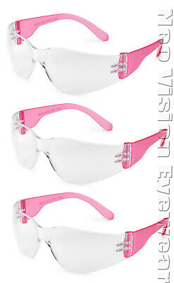 3 Pair/Pack Gateway Starlite Small Pink Clear Safety Glasses Womens Z87+