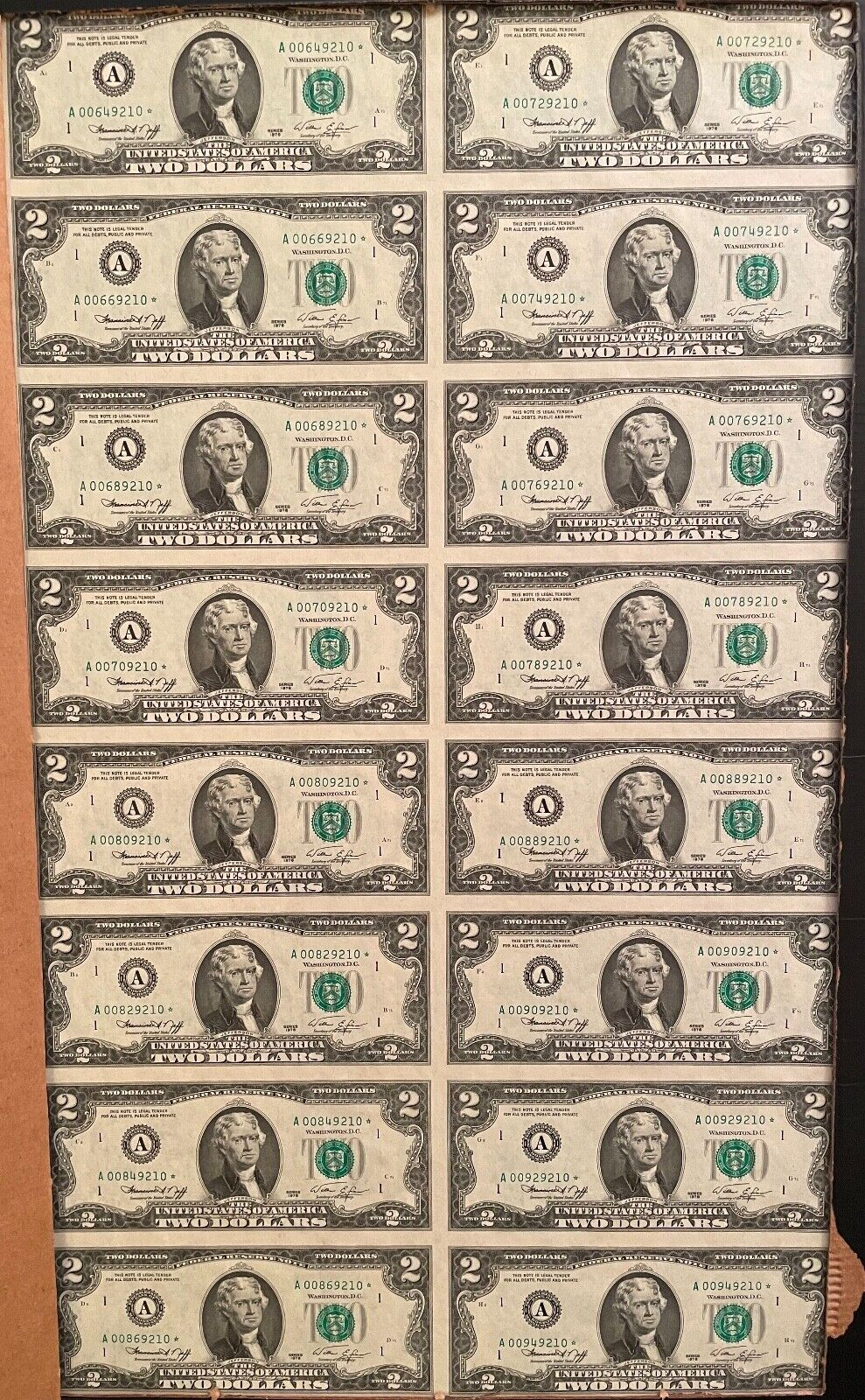 1976 Uncut Uncirculated BEP Sheet Of 16 STAR NOTES 2 Two Dollar Bills Currency  - $500.00