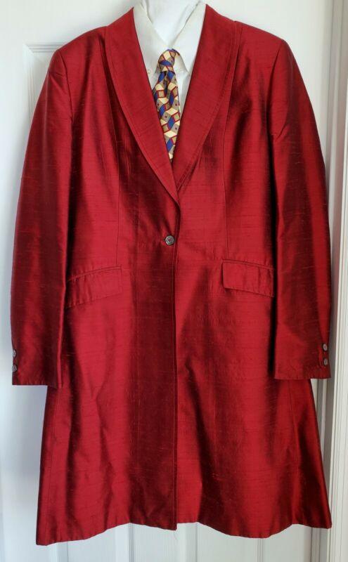 Red Silk Saddleseat Day Coat, Cambrai Collection. European Ladies 38 (US 14)