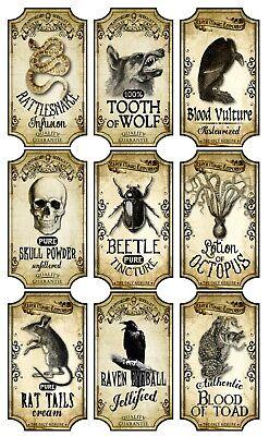 Halloween 9 Bottle Labels Rattlesnake Tooth Wolf Blood Vulture Octopus Raven  - Blood Label Halloween