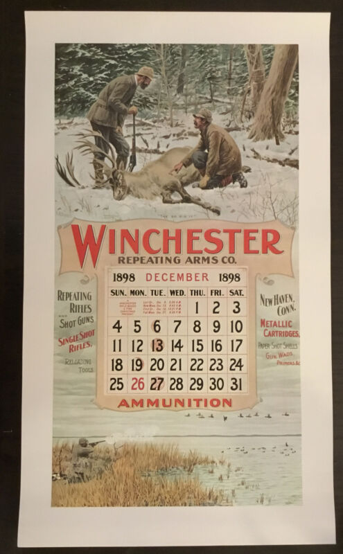 Vintage Winchester Ammunition Firearms Poster Calendar Print December 1898~Frost
