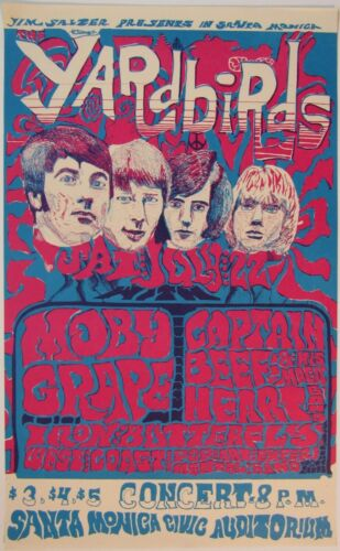 Jim Salzer Presents THE YARDBIRDS / MOBY GRAPE in SB (2nd PRINTING) POSTER