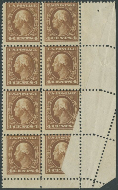"#503 Blk/8 ""washington"" W/ Foldover Error Affecting 2 Stamps Bs5155"