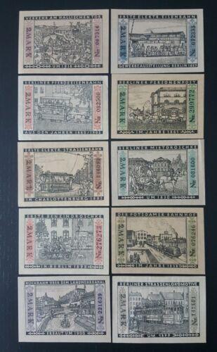 SET OF 10 GERMANY NOTGELD 1 MARK BERLIN 1922