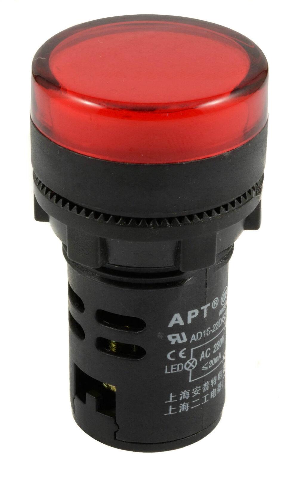 LED indicador de montaje del panel IP65 Blanco 230 Vac Lámpara Piloto 22 mm