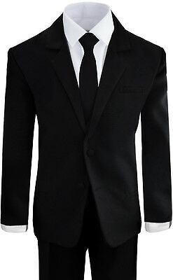 Boys Suits in Black and White Formal Wear Complete Set All Sizes With Tie - Black Boys Suits