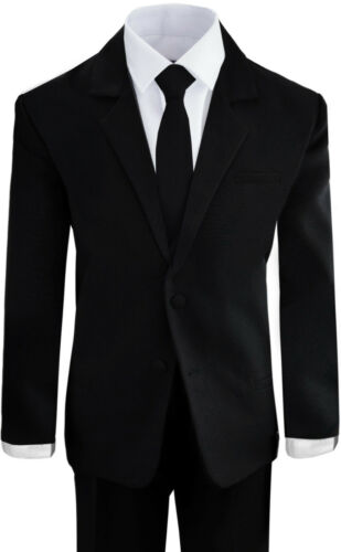 Boys Suits in Black and White Formal Wear Complete Set All Sizes With Tie