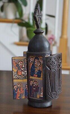 Round Wooden Ethiopian Orthodox Icon St. George, The Virgin Mary, Angel Gabriel