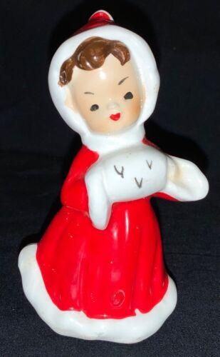 CERAMIC FIGURINE - 'GIRL IN RED HOLDING A MUFF'