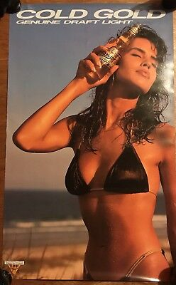 Vintage Miller Genuine Draft Light Beer Cold Gold Sexy Bikini Girl Poster 1980s