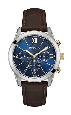 Bulova Classic Men's Quartz Chronograph Brown Leather Strap 40mm Watch 98A151