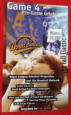 - 1995 WORLD SERIES Pre-GAME CELEBRATION PARTY TICKET Game 4 ROCK & ROLL HOF MINT!