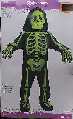 Halloween Skele-Bones Costume Black with Green Skeleton Bones Size Small 3T-4T